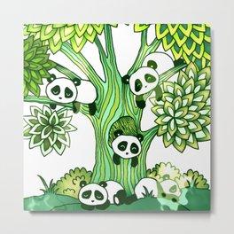 Green Panda Tree Metal Print
