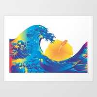 hokusai Art Prints featuring Hokusai Rainbow & Hibiscus_Y  by FACTORIE
