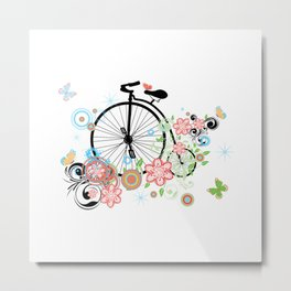 Bicycle with floral ornament Metal Print