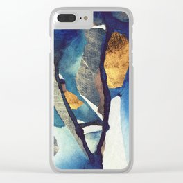 Cobalt Abstract Clear iPhone Case
