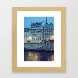 Paris by Night: Ile de la Cite Framed Art Print