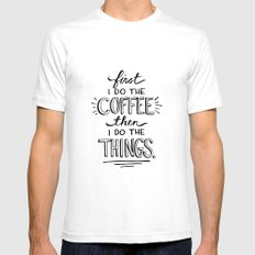 Coffee First White SMALL Mens Fitted Tee