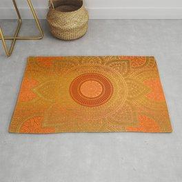 """""""Savanna Orange-Gold Mandala"""" Rug"""