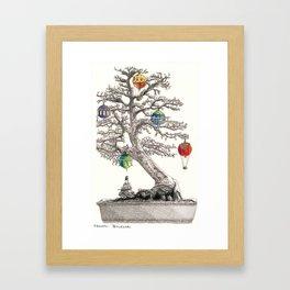 Festive Bonsai Tree Framed Art Print