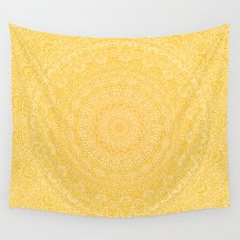 The Most Detailed Intricate Mandala (Mustard Yellow) Maze Zentangle Hand Drawn Popular Trending Wall Tapestry