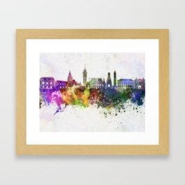 Calais skyline in watercolor background Framed Art Print