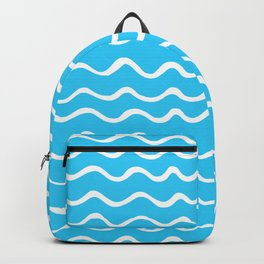 Simple aqua and white handrawn waves - for your summer Backpack
