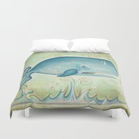 the whale Duvet Covers featuring WHALE by Patrizia Ambrosini