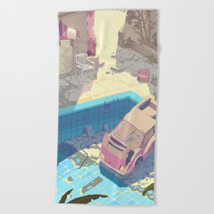 Abandoned swimming pool - Pixel art by Romain Courtois Beach Towel by rcmedy
