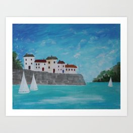 White sails in the harbour. Art Print