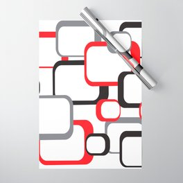 Red Black Gray Retro Square Pattern White Wrapping Paper