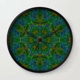 Yellow Green and Blue Kaleidoscope Wall Clock
