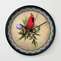 cardinal Wall Clocks featuring Cardinal by Ludovic Jacqz