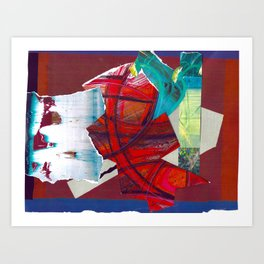 Scarlet Red Abstract Collage Art Print
