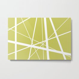 Mikado pattern graphic lines pastel yellow Metal Print