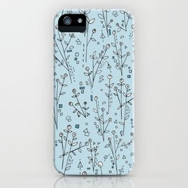 Blue, White, Black and Gray Floral Pattern iPhone Case