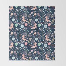 Unicorns in Hesperides Throw Blanket