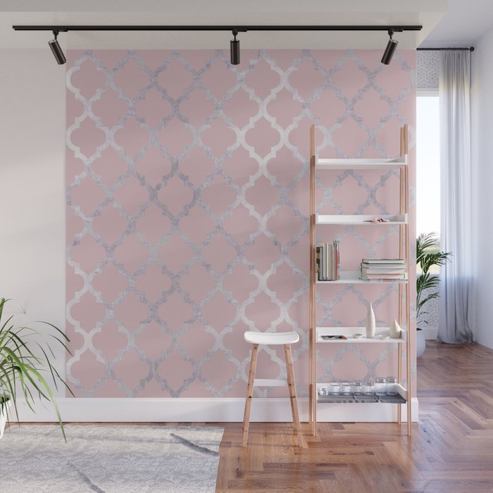 Moroccan Silver Pink Wall Mural by mrandmrs Society6