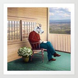 Mr Garwood Goat Reading on the Porch Art Print