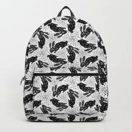 All Eyes on Me - Creepy Bunny - Black and White - Starburst  Backpack