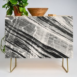 Abstract Marble - Black & Cream Credenza