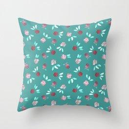 Clover Flowers Pattern on Mint Green Throw Pillow