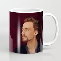 tom hiddleston Mugs featuring Tom on Crimson by LindaMarieAnson