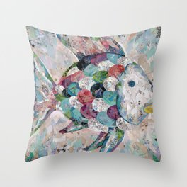 Rainbow Fish Collage Throw Pillow