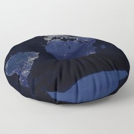 Earth at Night with the lights of most populated cities Floor Pillow