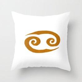 Cancer Golden Zodiac Symbol Throw Pillow