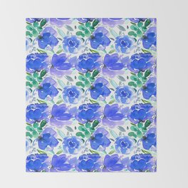 Big Blue Watercolour Painted Floral Pattern Throw Blanket