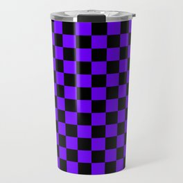 Black and Indigo Violet Checkerboard Travel Mug