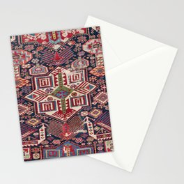 Red Shirvan Medallion 19th Century Authentic Colorful Geometric Shapes Vintage Patterns Stationery Cards
