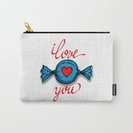 I love you (blue) written in red Carry-All Pouch
