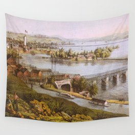 Vintage Aqueduct of Georgetown Map (1865) Wall Tapestry