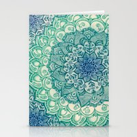 navy Stationery Cards featuring Emerald Doodle by micklyn