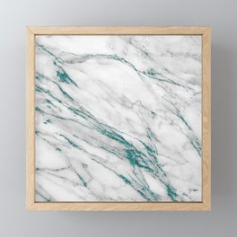 Gray Marble Aqua Teal Metallic Glitter Foil Style Framed Mini Art Print