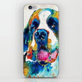 Colorful Saint Bernard Dog by Sharon Cummings iPhone Skin