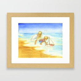 Children playing at the beach - Artwork that re-visits your favorite childhood memories Framed Art Print