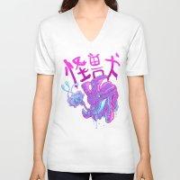 kaiju V-neck T-shirts featuring Kaiju Killer by Press Start
