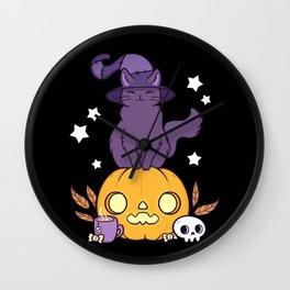 Pumpkin Cat // Black Wall Clock
