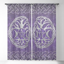 Triple Goddess with pentagram and tree of life Sheer Curtain