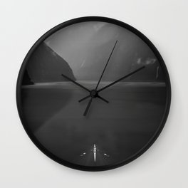Rowing - Milford Sound, New Zealand Wall Clock