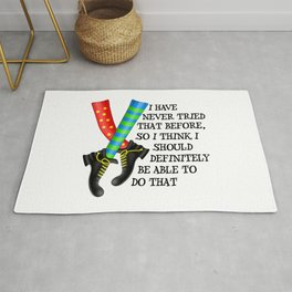 Girl Power Feminist Motivational Statement -  I Have Never Tried That Before Rug