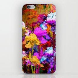 Yellow & Violet Purple Fantasy Iris  Painting iPhone Skin