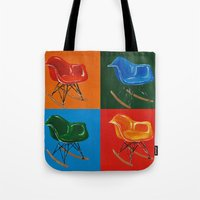 eames Tote Bags featuring Eames Rocker  by Redeemed Ink by - Kagan Masters