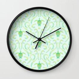 Sea Turtle Watercolor Pattern Wall Clock