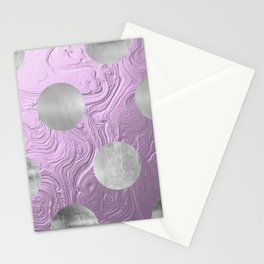 Cute big silver polka dots on purple background Stationery Cards