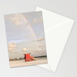 Lifeguard Stand Under Rainbow Stationery Cards