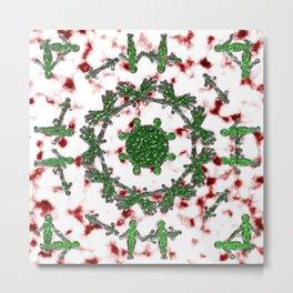 Green Red and Silver Alien Mandala Pattern Metal Print